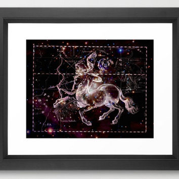 Sagittarius Constellation, Zodiac, Astrology, Astronomy, Black Metallic Print, Star Chart, Astronomy Art