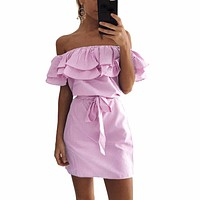 Ruffles Summer Dress  Women Stripe Print Off Shoulder Elastic Slash Neck Mini Dress Tie Plus Size Casual Party Beach Dresses