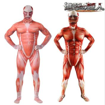 Cool Attack on Titan Anime  Cosplay Costume Adult Armored Colossal  Cos Halloween Party Onesuit Tights High Quality AT_90_11