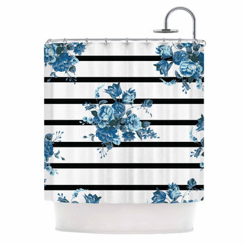"NL Designs ""Blue Floral Strips"" Black White Shower Curtain"