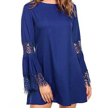 ACEVOG Womens ONeck Bell Sleeve Lace Patchwork Tunic Shift Dress