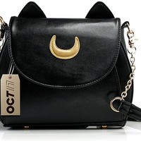 Moon Luna Purse Kitty Cat satchel shoulder Bag Designer Women Handbag Tote Leather Sailor School