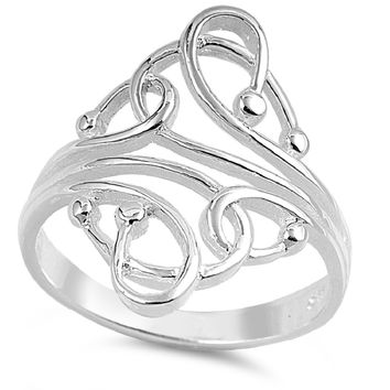 925 Sterling Silver Linked and Connected Sacred Geometry Ring 34MM