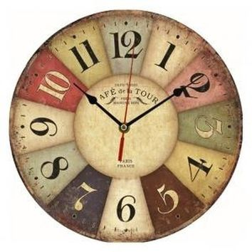 European Country Style Colorful Wooden Analog Clock for Home Wall Decoration