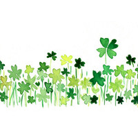 Clover field 2 art Print of orignal watercolor painting ,lucky clover, Shamrock, luck of the Irish, modern minimalist , St Patric's day