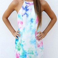White Patchwork Spaghetti Strap Backless Tie Dye Round Neck Sleeveless Mini Dress