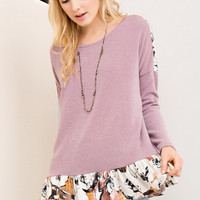 Mauve Pink Sweater Top with Velvet Floral Detail