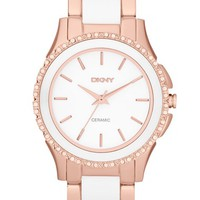 Women's DKNY 'Westside' Round Two Tone Ceramic Bracelet Watch, 32mm - Rose Gold/ White