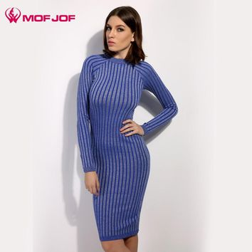Women sweater dress  2017 spring autumn long sexy Bodycon Dresses Elastic Skinny twinkle Knitted  Dress vestidos