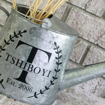 Farmhouse watering can, monogram wedding gift, rustic metal home decor, housewarming gift, farmhouse style vase, newlywed gifts, bridal gift