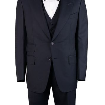 Tom Ford Navy Wool Unfinished Hem Fit A 3 Piece Suit