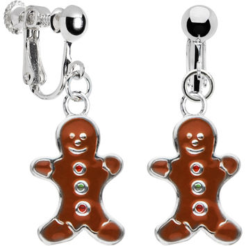 Stainless Steel Gingerbread Man Clip Earrings