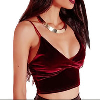 Newest Sexy Deep V-neck Short Velvet Vest Camis Tops