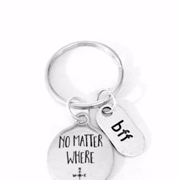 No Matter Where Bff Long Distance Best Friend Friendship Gift Keychain
