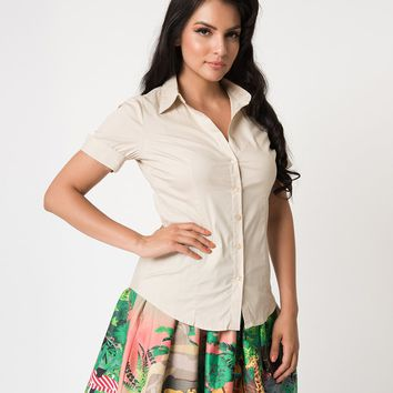 Retro Style Khaki Tan Short Sleeve Collared Button Up Cotton Blouse