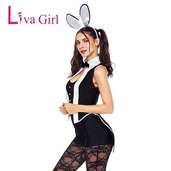 Liva Girl Women Sexy Tuxedo Bunny Costume Cosplay Playsuits For Adult Costumes Halloween Sleeveless Rompers 2018 Black Overalls