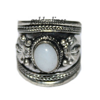 Adjustable Nepalese Tibetan country ring Moonstone Ring Tibet Ring Nepal Ring Tribal Ring bohemian ring gypsy ring Tibetan Ring urban A102