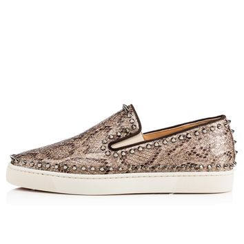 Christian Louboutin Cl Pik Boat Men's Flat Roccia/gun Metal Glitter Eve Sneakers - Ready Stock