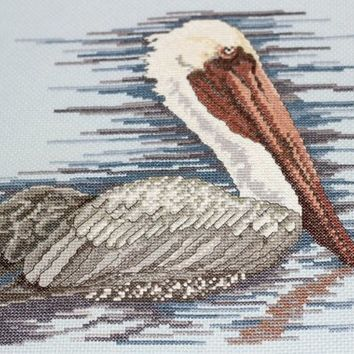 Stork Cross Stitch | Finished Embroidery | Beach Scene Completed Stitchery | Blue Cross Stitch | Embroidery to Frame | Embroidery for Pillow