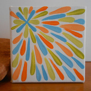 Painting Citron Pumpkin and Turquoise Flower Aboriginal by Acires