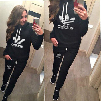 "Multi-color ""Adidas"" Letter & Logo Print Winter Print Casual Hoodie Sportswear Set = 4855264004"