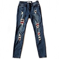 Red Plaid Patch Jeans