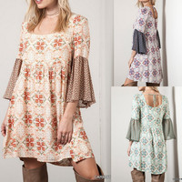Eliza Bella for Umgee Beautifully Bohemian Mini Bell Print Dress / Blouse SML