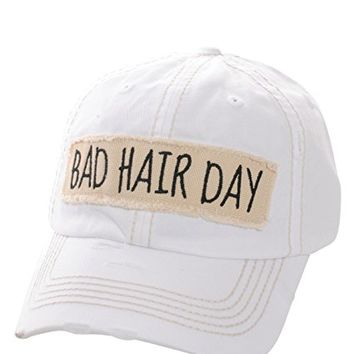 Bad Hair Day White Patch Adjustable Baseball Cap KBV1073(WT)