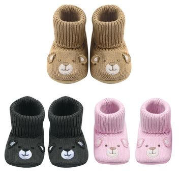 Baby Children Boots Shoes Cute Crochet Knit Baby Shoes Non-slip Soft Sole Walking Shoe