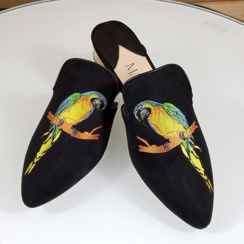 Mac J  Black Vegan Suede Flats Mules Clog Embroidered Parrot Macaw Design
