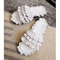 2018 new ruffled skirt with a word open toe sandals women's wear slippers F-RCSTXC White