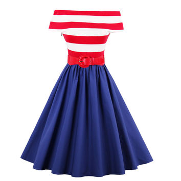 2017 Summer Dress 1950s Off-Shoulder Striped Vintage Dress Audrey Hepburn Style Rockabilly Swing Evening Dress Feminino Vestidos