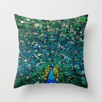 :: Peacock Caper :: Throw Pillow by GaleStorm Artworks