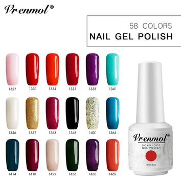 Vrenmol 8ml Glass Bottle Pure Color Painting Gel Nail Polish UV Lamp for Gel Varnish Base and Top Glue Nail Design Lacquer