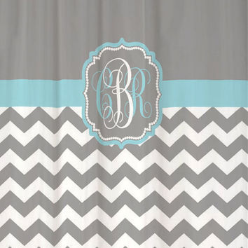 "Shower Curtain Cool Gray Half Chevron with Light Blue Accents - 69x70"" - Monogrammed Personalized Custom for Your Bathroom"