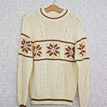 Vintage 1970s Snowflake + Cableknit Nordic Sweater