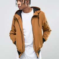 Bershka Hooded Bomber Jacket In Tan at asos.com