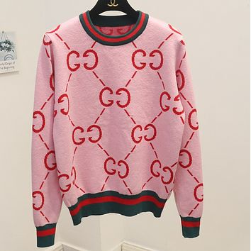 GUCCI wild sweater women's sweet college wind round neck double g letter sweater Pink