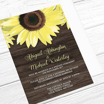 Sunflower Wood Reception Only Invitations - Rustic Yellow Floral on Brown Wood - Post-Wedding Reception - Printed Sunflower Invitations