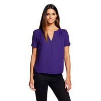Women's Short Sleeve V-Neck Blouse Bright Purple... : Target