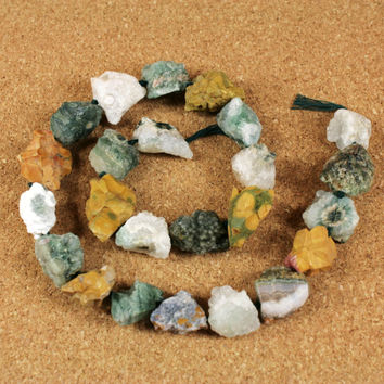 Ocean Jasper Matte Rough Nugget Beads - Multicolored Center Drilled Natural Stone Beads, 16 inch strand