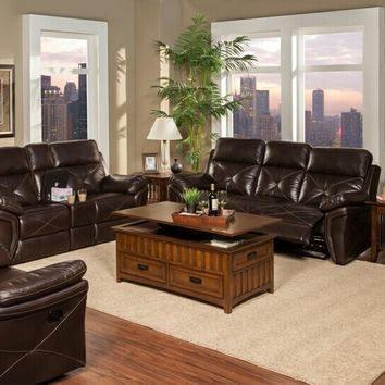 New Classic 20-326-30-25SCH 2 pc galaxy collection snake chocolate colored faux leather upholstered sofa and love seat set with recliners