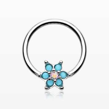 Turquoise Spring Flower Sparkle Captive Bead Ring