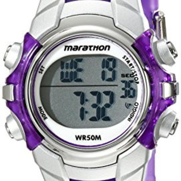 Marathon by Timex Unisex T5K816 Digital Mid-Size Purple/Silver-Tone Resin Strap Watch