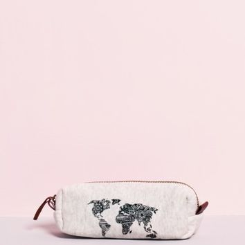 Pencil Case with World print