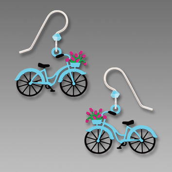 Sienna Sky Earrings - Blue Bike with Flowers in the Basket