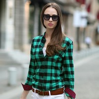 British Style Long Sleeve Plaid Shirts