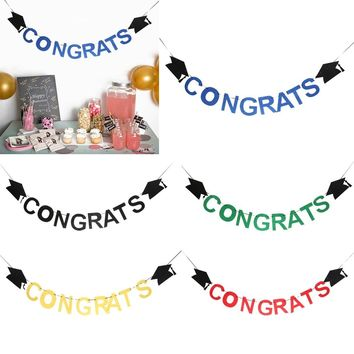 Congrats Letters Graduation Doctoral Cap Felt Banner Celebration Party Hanging Sign