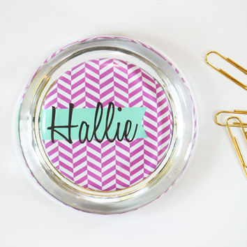 Pink and Turquoise Custom Paperweight Personalized Office Supplies Desk Accessories Pink Herringbone Geometric Pattern Office Decor Supplies