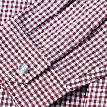 Burgundy Gingham Long Sleeve smart shirt - Long Sleeve Shirts - Men's Shirts - Clothing- TOPMAN